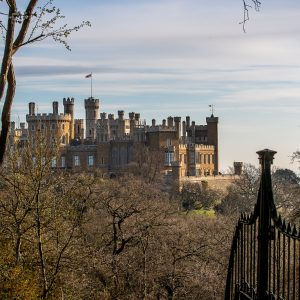 """Friday 5th April 2019  Picture Credit Charlotte Graham  Picture Shows  Early Morning light on the Belvoir Castle Estate and in Duchess's Spring Gardens that have been replanted over the last 5 years and were originally designed by Capability Brown. Belvoir Castle (/ˈbiːvər/ (BEE-vər ) is a stately home in the English county of Leicestershire, overlooking the Vale of Belvoir (grid reference SK820337). It is a Grade I listed building.A corner of the castle is still used as the family home of the Manners family and remains the seat of the Dukes of Rutland, most of whom are buried in the grounds of the mausoleum there. The castle remains privately owned, but is open to visitors. The castle is near several villages, including Redmile, Woolsthorpe, Knipton, Harston, Harlaxton, Croxton Kerrial and Bottesford and the town of Grantham. Antiquarian John Leland wrote in the 16th century, """"the castle stands on the very nape of a high hill, steep up each way, partly by nature, partly by the working of men's hands."""""""